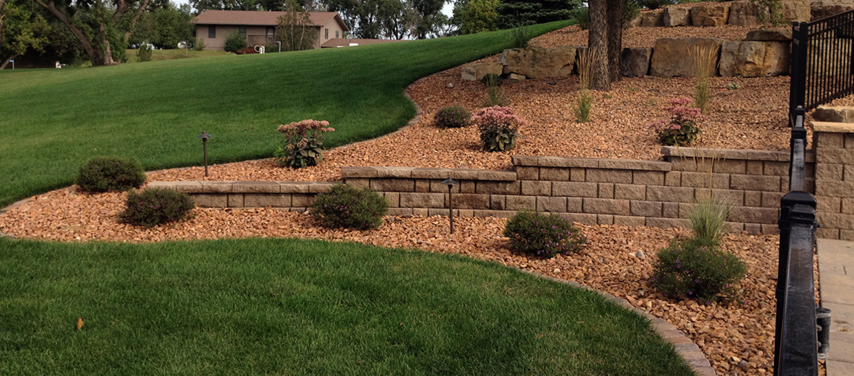 Backyard landscaping with plants and retaining wall