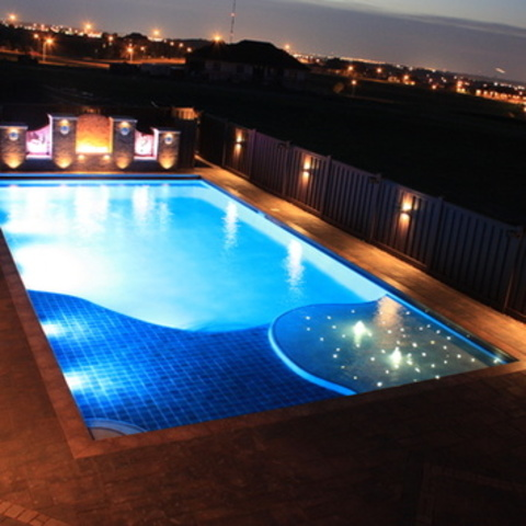 Concrete Pool At Night With Sundeck And Star Scapes 2
